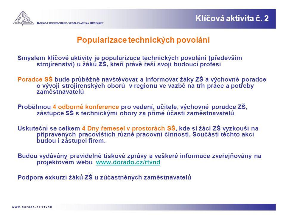 Popularizace technických povolání Smyslem klíčové aktivity je popularizace technických povolání (především strojírenství) u žáků ZŠ, kteří právě řeší