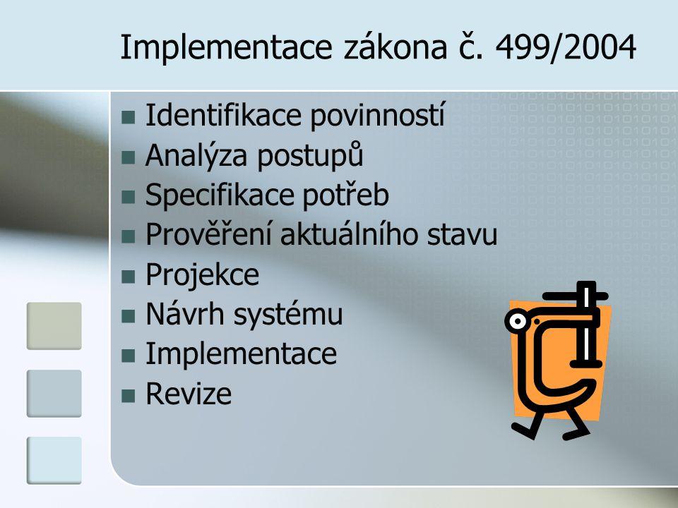 Implementace zákona č. 499/2004 Identifikace povinností Analýza postupů Specifikace potřeb Prověření aktuálního stavu Projekce Návrh systému Implement
