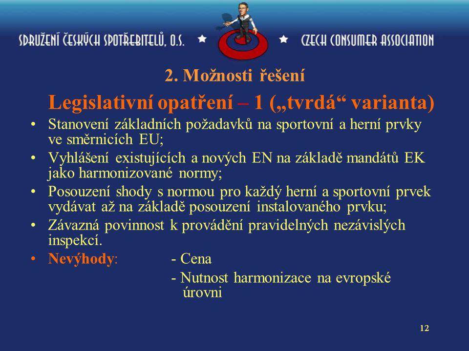 """12 2. Možnosti řešení Legislativní opatření – 1 (""""tvrdá"""" varianta) Stanovení základních požadavků na sportovní a herní prvky ve směrnicích EU; Vyhláše"""