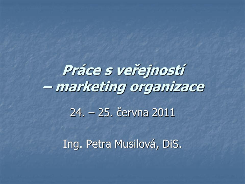 Práce s veřejností – marketing organizace 24. – 25. června 2011 Ing. Petra Musilová, DiS.