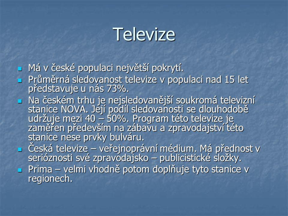 Televize Má v české populaci největší pokrytí. Má v české populaci největší pokrytí. Průměrná sledovanost televize v populaci nad 15 let představuje u