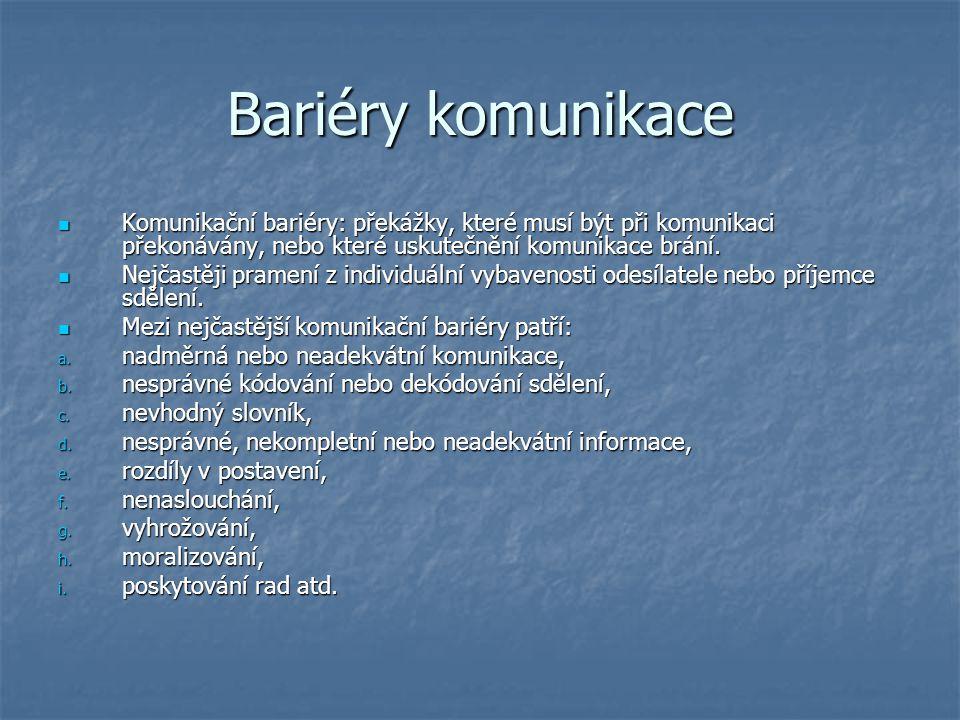 Bariéry komunikace Komunikační bariéry: překážky, které musí být při komunikaci překonávány, nebo které uskutečnění komunikace brání. Komunikační bari