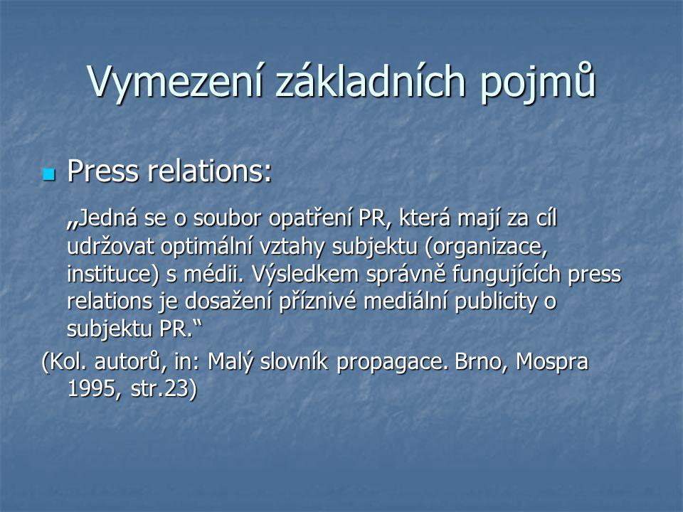 """Vymezení základních pojmů Press relations: Press relations: """" Jedná se o soubor opatření PR, která mají za cíl udržovat optimální vztahy subjektu (org"""