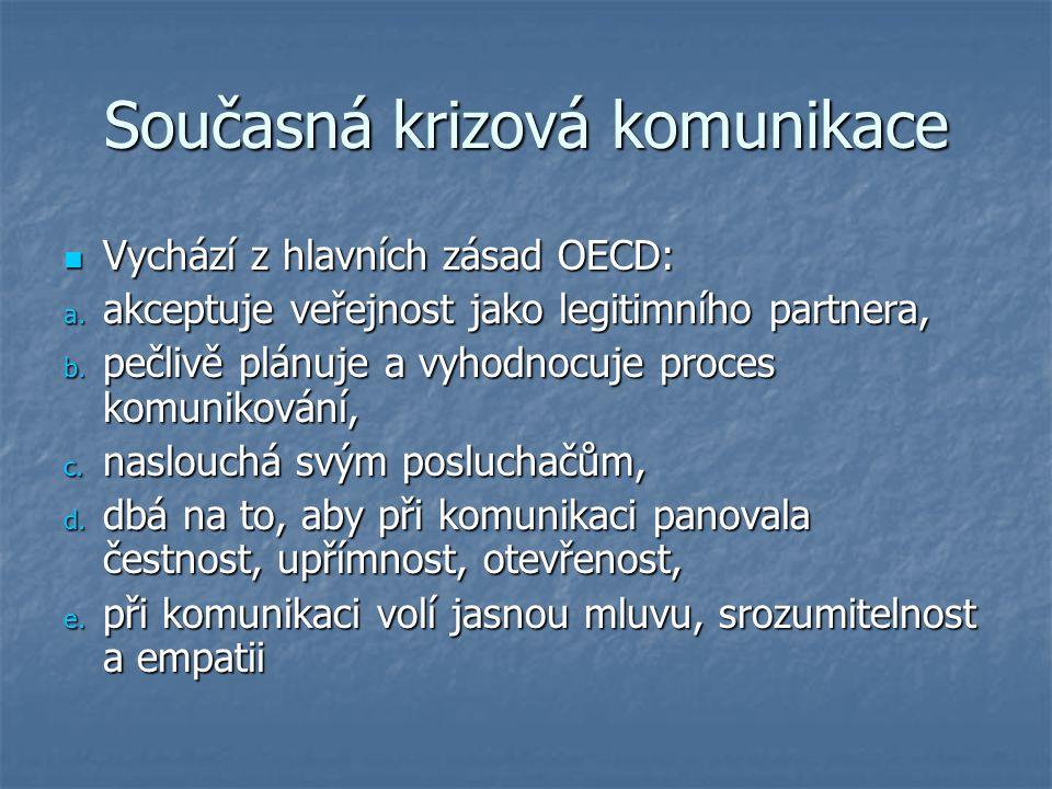 Současná krizová komunikace Vychází z hlavních zásad OECD: Vychází z hlavních zásad OECD: a. akceptuje veřejnost jako legitimního partnera, b. pečlivě