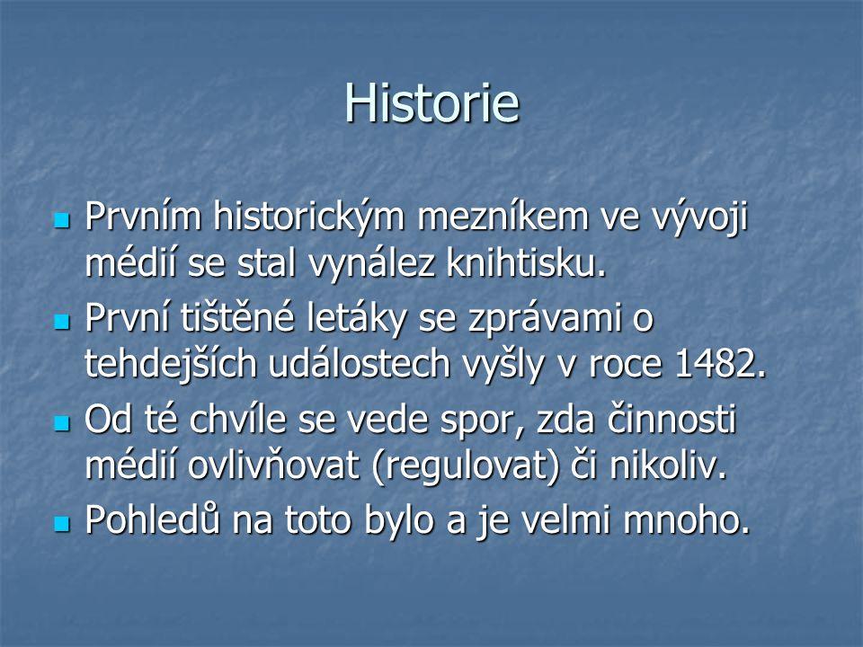 Historie Prvním historickým mezníkem ve vývoji médií se stal vynález knihtisku. Prvním historickým mezníkem ve vývoji médií se stal vynález knihtisku.