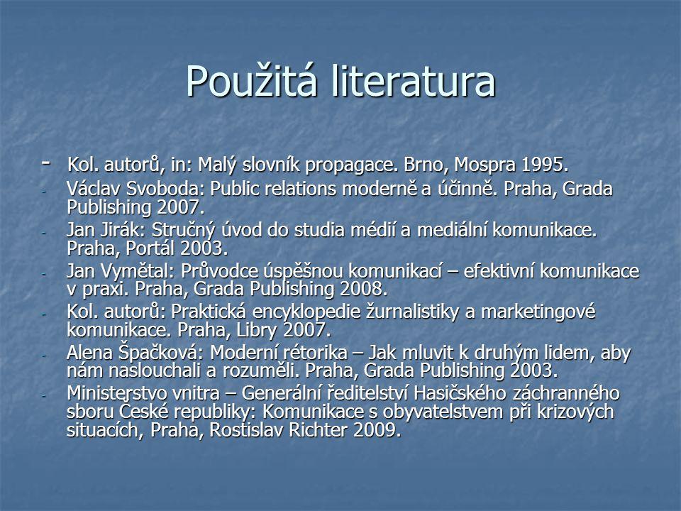 Použitá literatura - Kol. autorů, in: Malý slovník propagace. Brno, Mospra 1995. - Václav Svoboda: Public relations moderně a účinně. Praha, Grada Pub