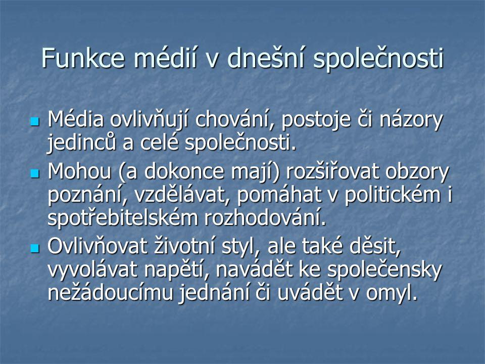 Funkce médií v dnešní společnosti Média ovlivňují chování, postoje či názory jedinců a celé společnosti. Média ovlivňují chování, postoje či názory je