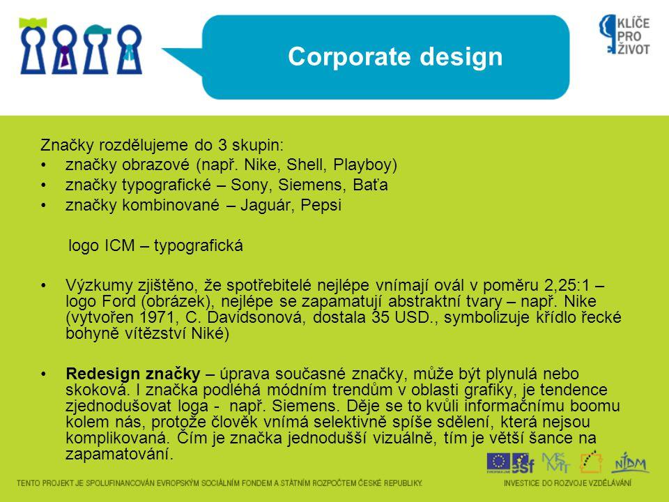 Corporate design Značky rozdělujeme do 3 skupin: značky obrazové (např. Nike, Shell, Playboy) značky typografické – Sony, Siemens, Baťa značky kombino