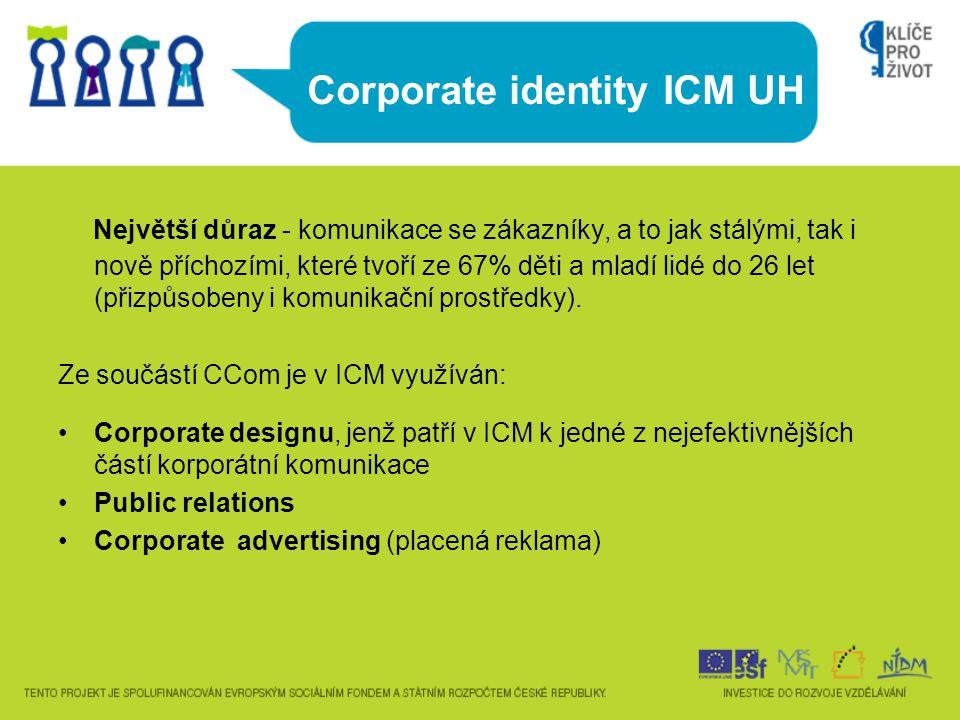 Corporate identity ICM UH Největší důraz - komunikace se zákazníky, a to jak stálými, tak i nově příchozími, které tvoří ze 67% děti a mladí lidé do 2