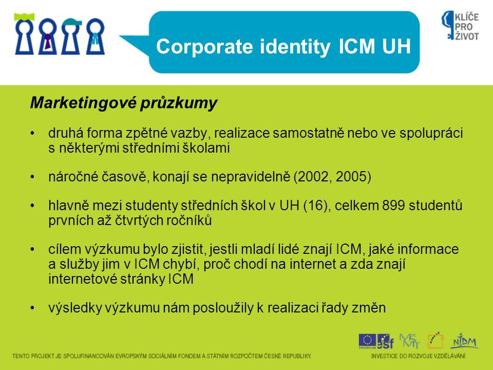 Corporate identity ICM UH Marketingové průzkumy druhá forma zpětné vazby, realizace samostatně nebo ve spolupráci s některými středními školami náročn