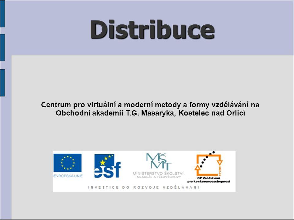 Distribuce Centrum pro virtuální a moderní metody a formy vzdělávání na Obchodní akademii T.G. Masaryka, Kostelec nad Orlicí