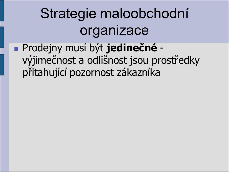 Strategie maloobchodní organizace Prodejny musí být jedinečné - výjimečnost a odlišnost jsou prostředky přitahující pozornost zákazníka