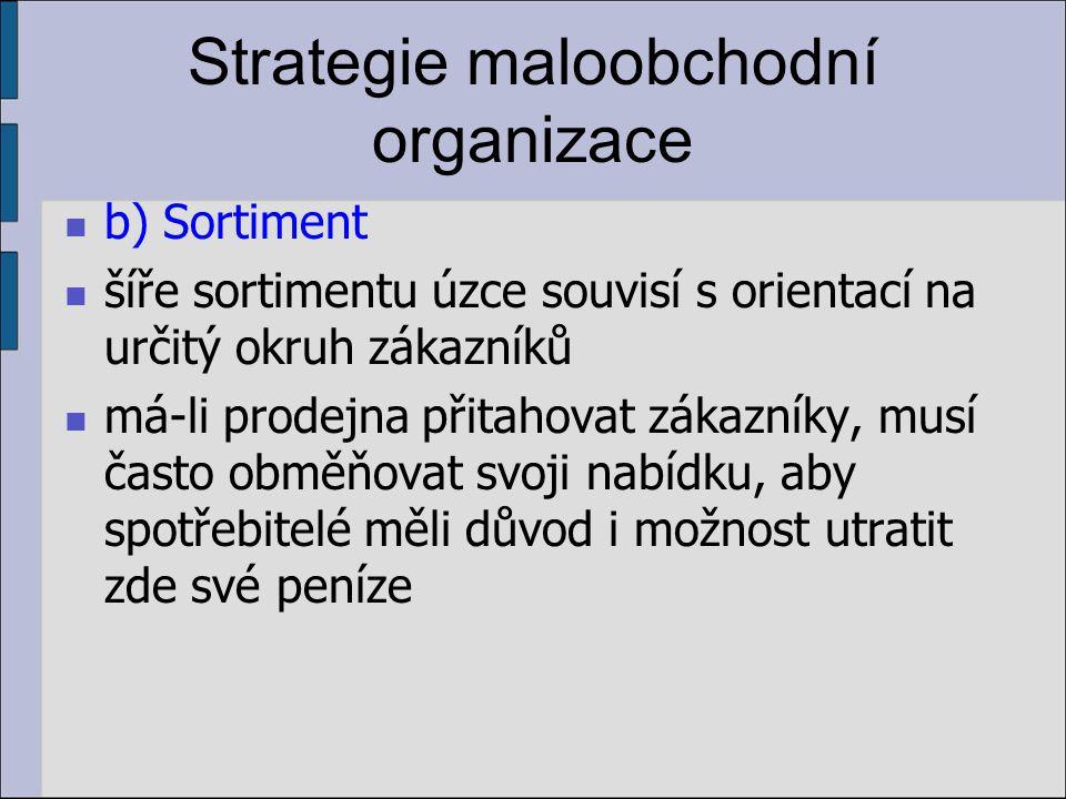 Strategie maloobchodní organizace b) Sortiment šíře sortimentu úzce souvisí s orientací na určitý okruh zákazníků má-li prodejna přitahovat zákazníky,