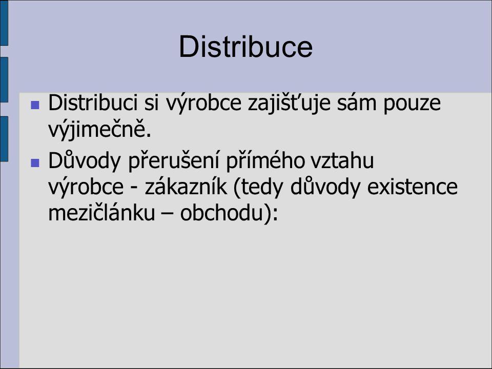 Distribuce Distribuci si výrobce zajišťuje sám pouze výjimečně. Důvody přerušení přímého vztahu výrobce - zákazník (tedy důvody existence mezičlánku –