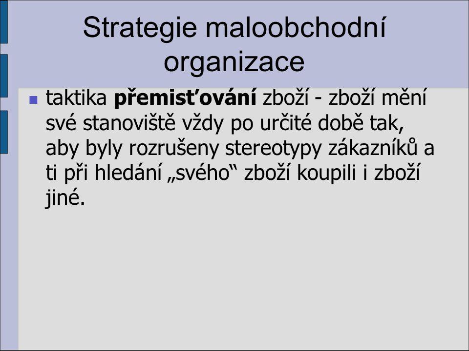 Strategie maloobchodní organizace taktika přemisťování zboží - zboží mění své stanoviště vždy po určité době tak, aby byly rozrušeny stereotypy zákazn