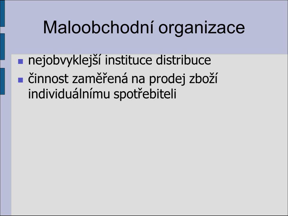Maloobchodní organizace nejobvyklejší instituce distribuce činnost zaměřená na prodej zboží individuálnímu spotřebiteli
