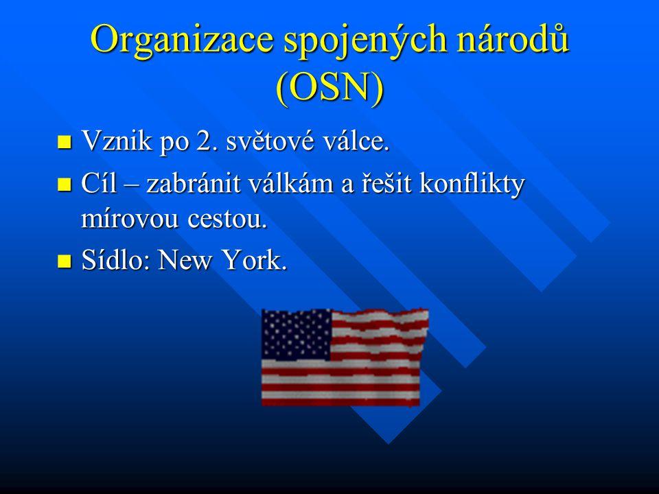 Organizace spojených národů (OSN) Vznik po 2.světové válce.