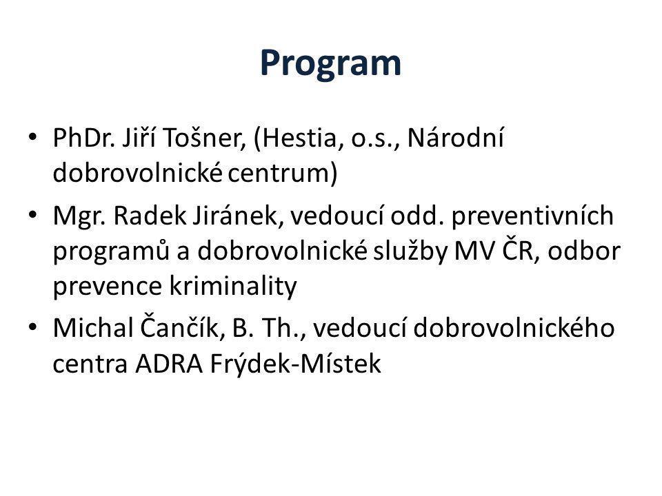 Program PhDr. Jiří Tošner, (Hestia, o.s., Národní dobrovolnické centrum) Mgr.