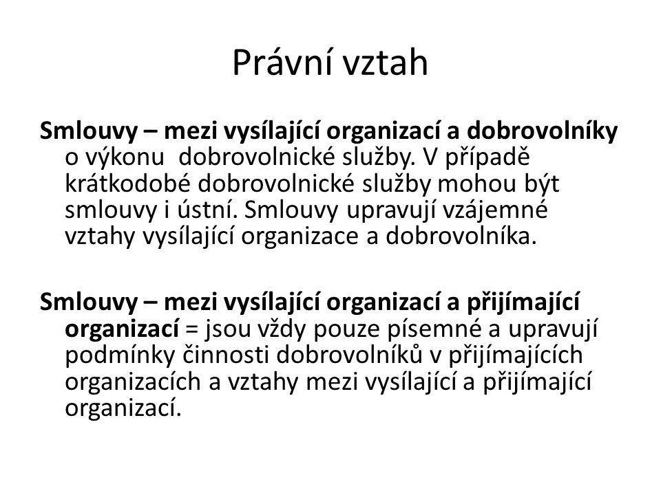 Právní vztah Smlouvy – mezi vysílající organizací a dobrovolníky o výkonu dobrovolnické služby.