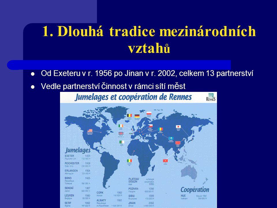 1. Dlouhá tradice mezinárodních vztah ů Od Exeteru v r. 1956 po Jinan v r. 2002, celkem 13 partnerství Vedle partnerství č innost v rámci sítí m ě st