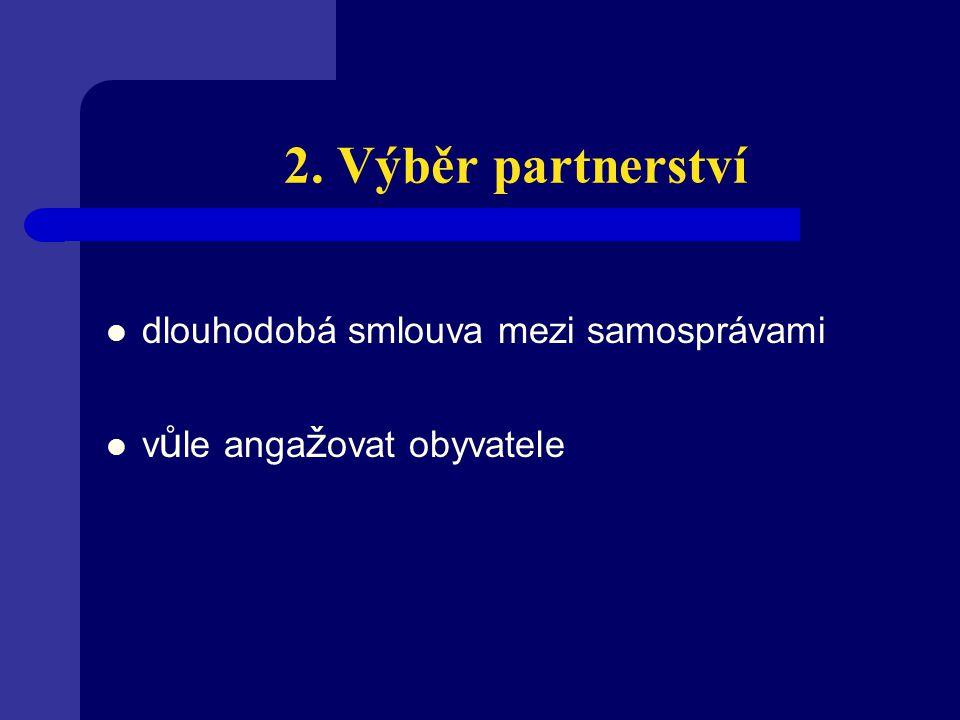 2. Výběr partnerství dlouhodobá smlouva mezi samosprávami v ů le anga ž ovat obyvatele