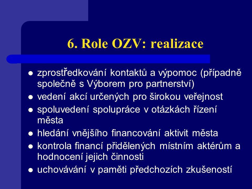 6. Role OZV: realizace zprost ř edkování kontaktů a výpomoc (případně společně s Výborem pro partnerství) vedení akcí určených pro širokou veřejnost s