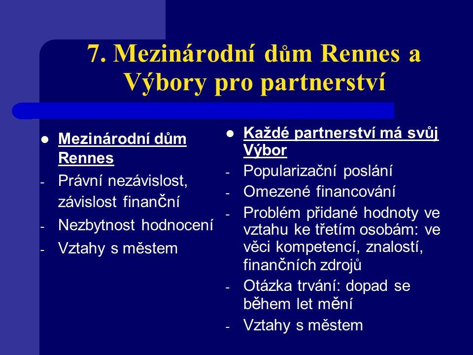 7. Mezinárodní d ů m Rennes a Výbory pro partnerství Mezinárodní dům Rennes - Právní nezávislost, závislost finan č ní - Nezbytnost hodnocení - Vztahy