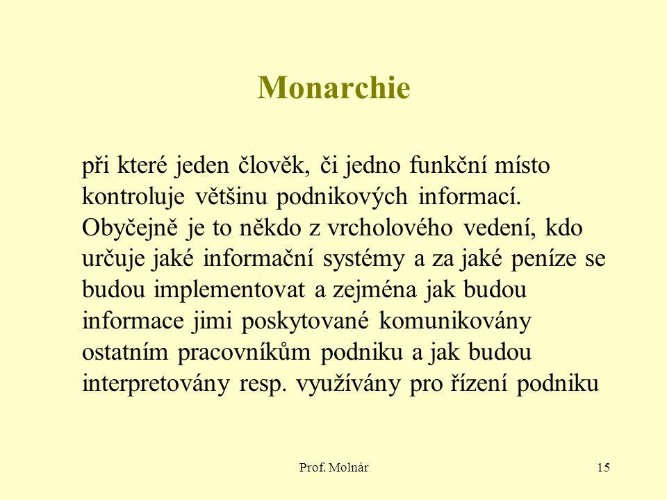 Prof. Molnár15 Monarchie při které jeden člověk, či jedno funkční místo kontroluje většinu podnikových informací. Obyčejně je to někdo z vrcholového v