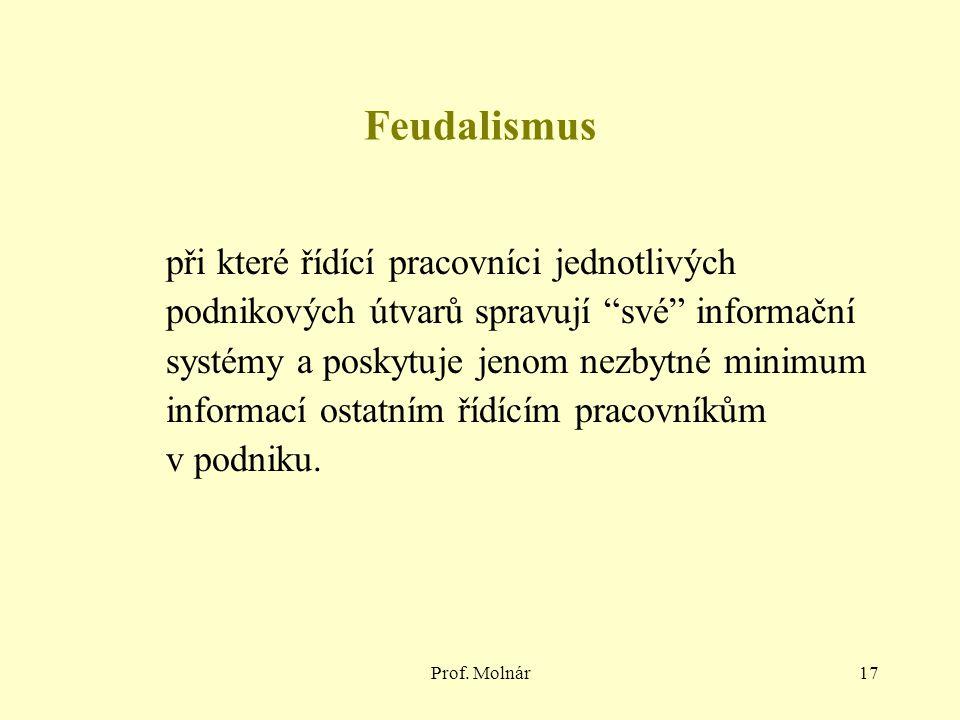 """Prof. Molnár17 Feudalismus při které řídící pracovníci jednotlivých podnikových útvarů spravují """"své"""" informační systémy a poskytuje jenom nezbytné mi"""