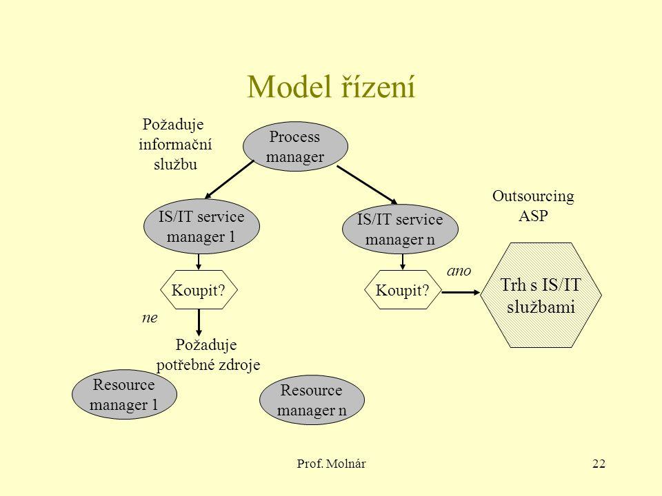 Prof. Molnár22 Model řízení Process manager IS/IT service manager 1 IS/IT service manager n Koupit.