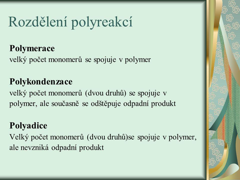 Rozdělení polyreakcí Polymerace velký počet monomerů se spojuje v polymer Polykondenzace velký počet monomerů (dvou druhů) se spojuje v polymer, ale s