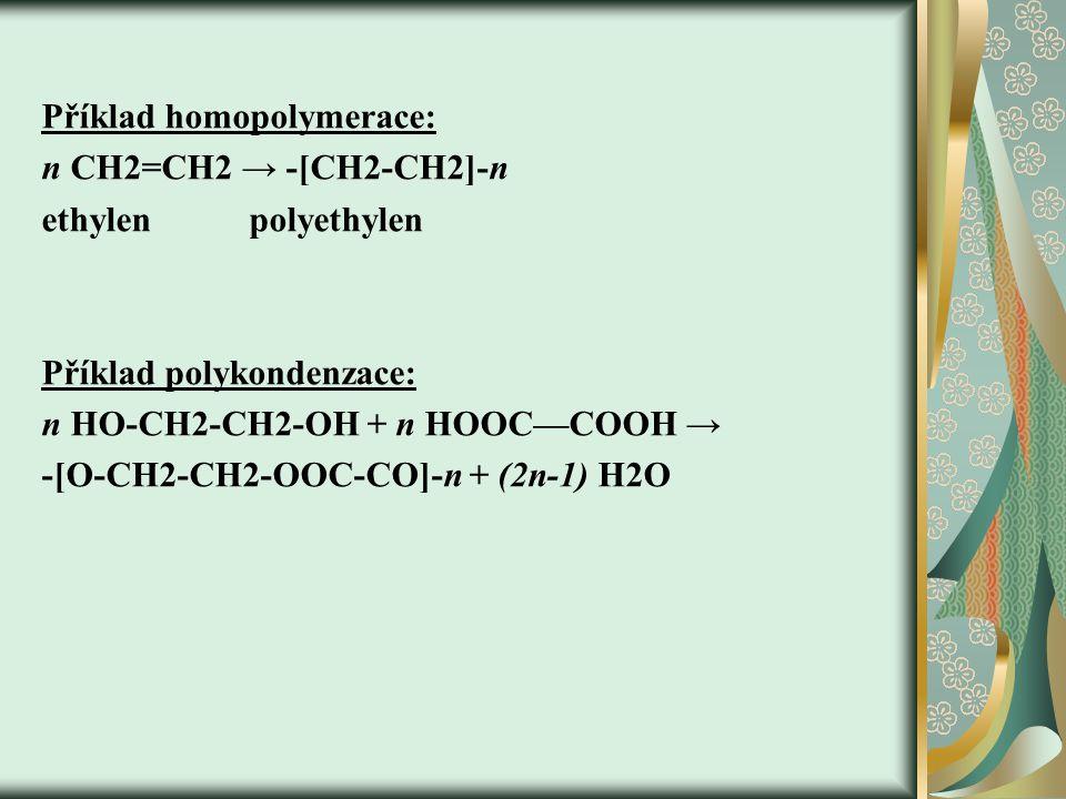 Příklad homopolymerace: n CH2=CH2 → -[CH2-CH2]-n ethylen polyethylen Příklad polykondenzace: n HO-CH2-CH2-OH + n HOOC—COOH → -[O-CH2-CH2-OOC-CO]-n + (