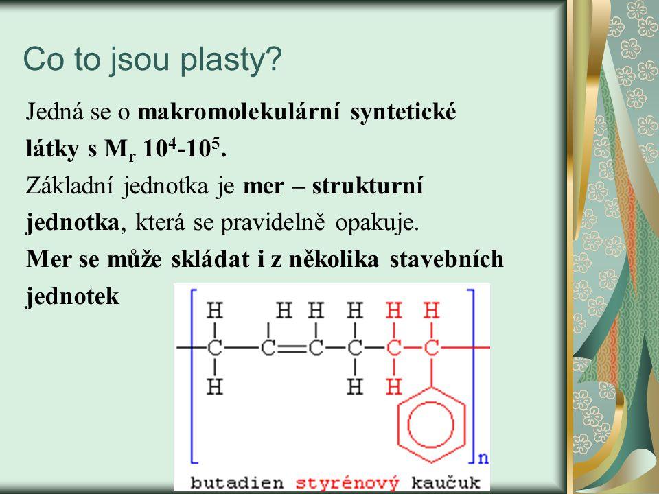 Co to jsou plasty? Jedná se o makromolekulární syntetické látky s M r 10 4 -10 5. Základní jednotka je mer – strukturní jednotka, která se pravidelně