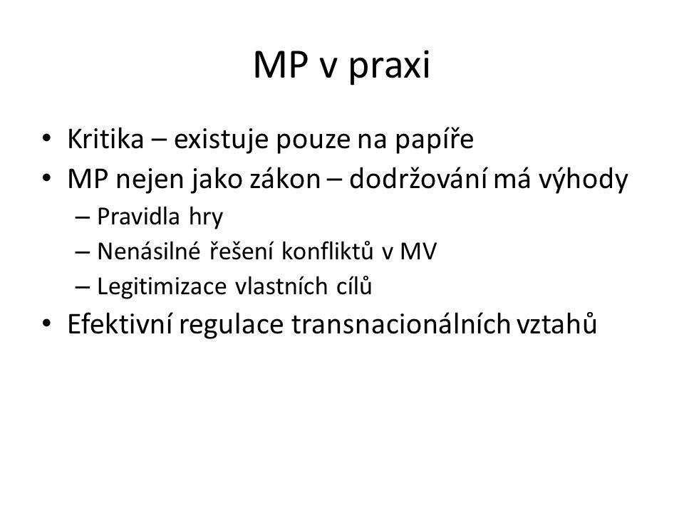 MP v praxi Kritika – existuje pouze na papíře MP nejen jako zákon – dodržování má výhody – Pravidla hry – Nenásilné řešení konfliktů v MV – Legitimiza