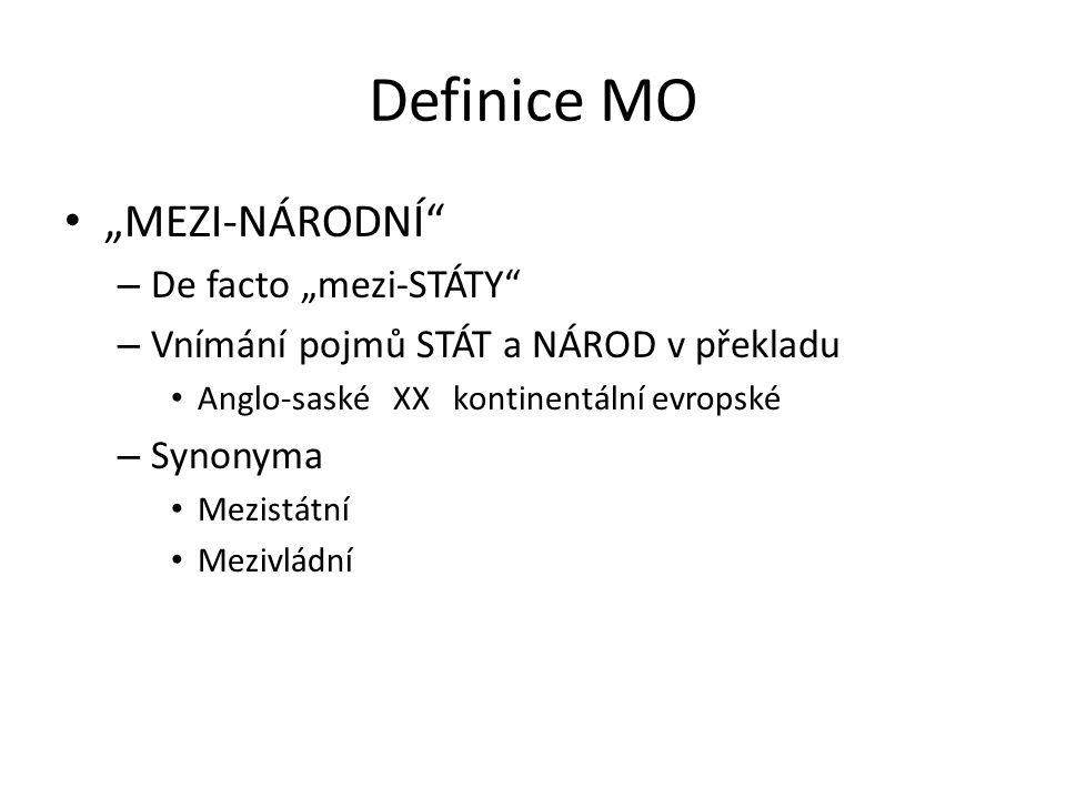 """Definice MO """"MEZI-NÁRODNÍ"""" – De facto """"mezi-STÁTY"""" – Vnímání pojmů STÁT a NÁROD v překladu Anglo-saské XX kontinentální evropské – Synonyma Mezistátní"""