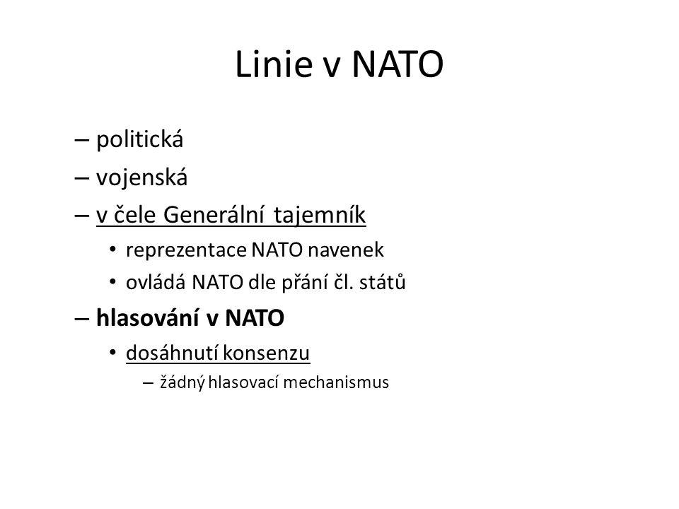 Linie v NATO – politická – vojenská – v čele Generální tajemník reprezentace NATO navenek ovládá NATO dle přání čl. států – hlasování v NATO dosáhnutí