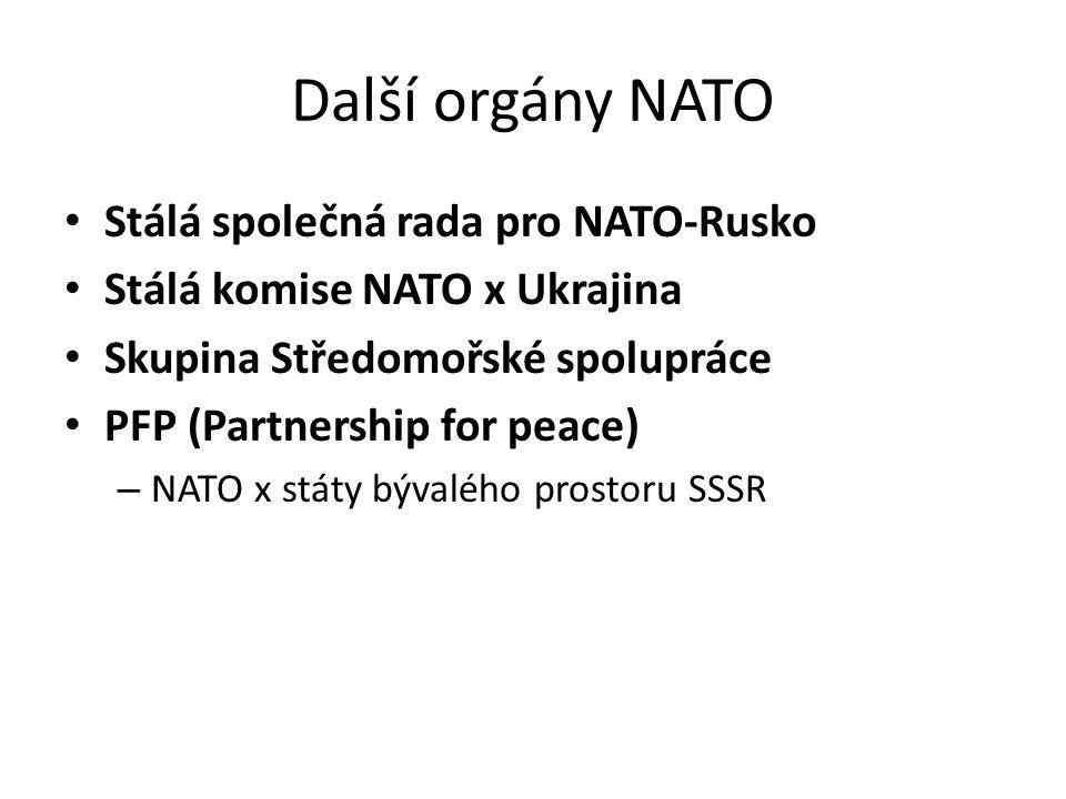 Další orgány NATO Stálá společná rada pro NATO-Rusko Stálá komise NATO x Ukrajina Skupina Středomořské spolupráce PFP (Partnership for peace) – NATO x