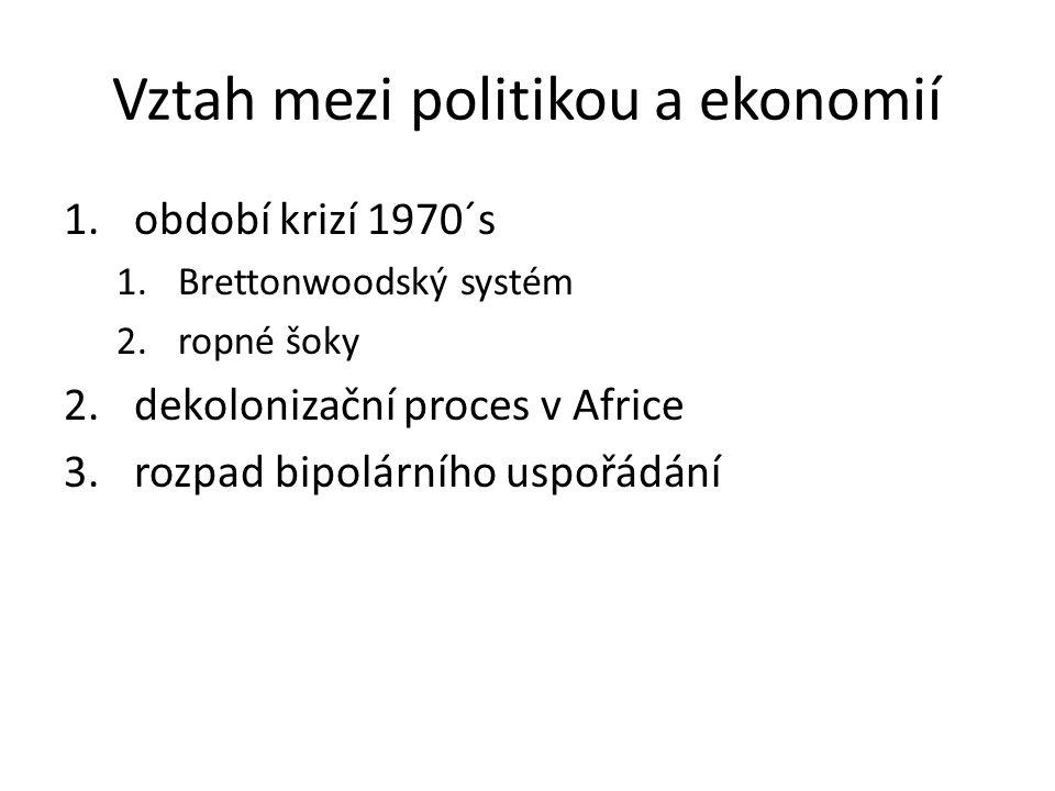 Vztah mezi politikou a ekonomií 1.období krizí 1970´s 1.Brettonwoodský systém 2.ropné šoky 2.dekolonizační proces v Africe 3.rozpad bipolárního uspořá