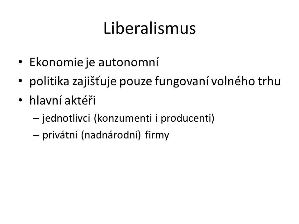 Liberalismus Ekonomie je autonomní politika zajišťuje pouze fungovaní volného trhu hlavní aktéři – jednotlivci (konzumenti i producenti) – privátní (n