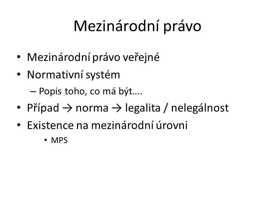 Mezinárodní právo veřejné Normativní systém – Popis toho, co má být…. Případ → norma → legalita / nelegálnost Existence na mezinárodní úrovni MPS