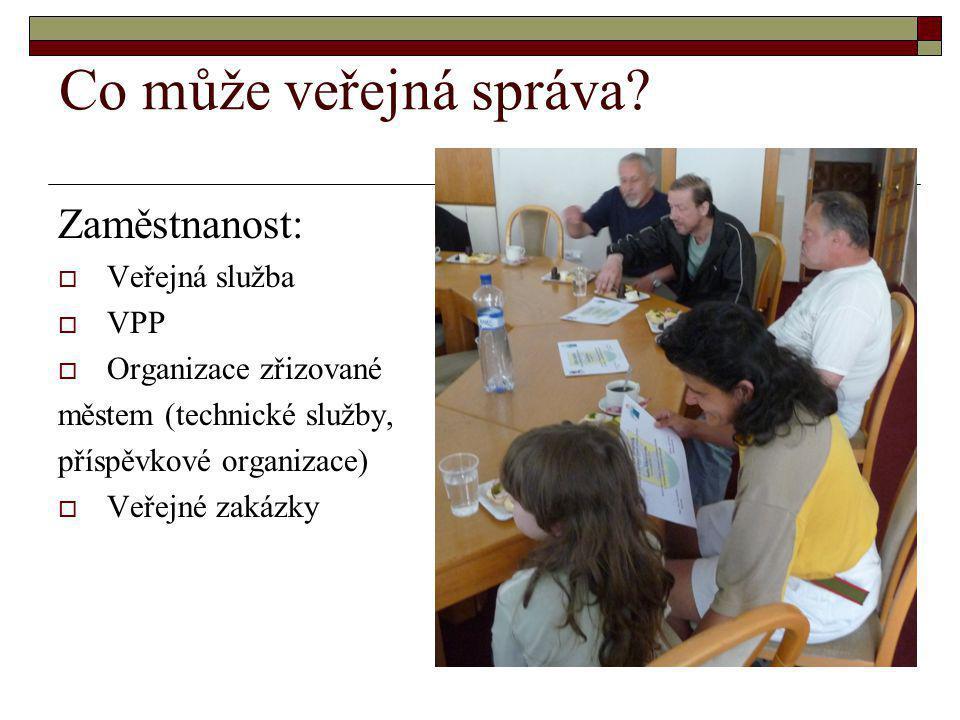 Co může veřejná správa? Zaměstnanost:  Veřejná služba  VPP  Organizace zřizované městem (technické služby, příspěvkové organizace)  Veřejné zakázk