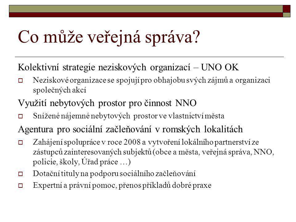 Co může veřejná správa? Kolektivní strategie neziskových organizací – UNO OK  Neziskové organizace se spojují pro obhajobu svých zájmů a organizaci s
