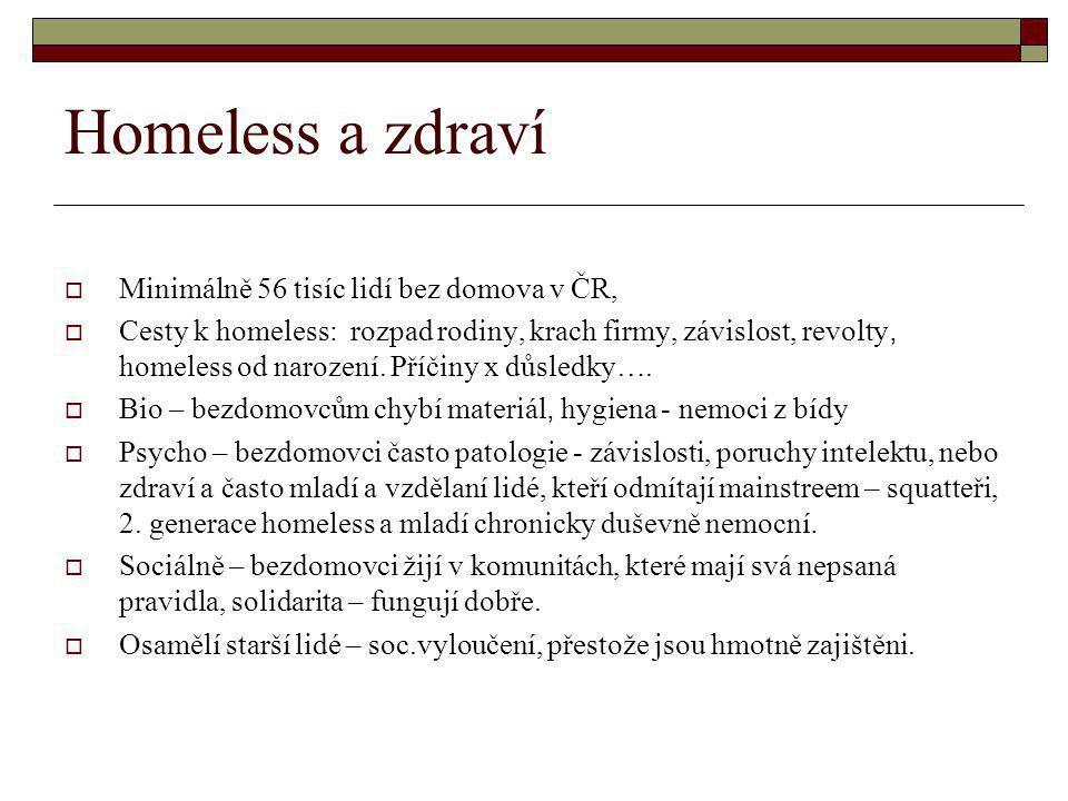 Homeless a zdraví  Minimálně 56 tisíc lidí bez domova v ČR,  Cesty k homeless: rozpad rodiny, krach firmy, závislost, revolty, homeless od narození.