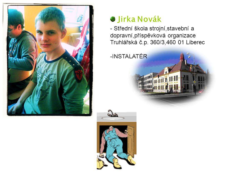 Jirka Novák - Střední škola strojní,stavební a dopravní,příspěvková organizace Truhlářská č.p. 360/3,460 01 Liberec -INSTALATÉR