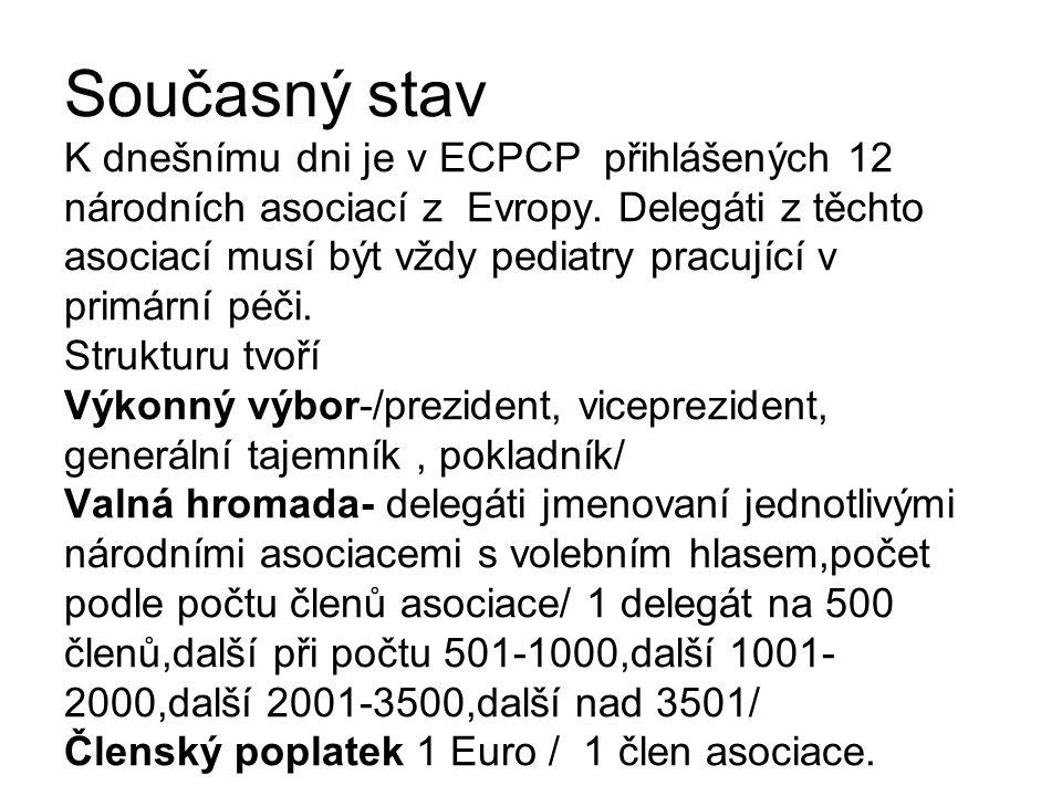 Současný stav K dnešnímu dni je v ECPCP přihlášených 12 národních asociací z Evropy. Delegáti z těchto asociací musí být vždy pediatry pracující v pri