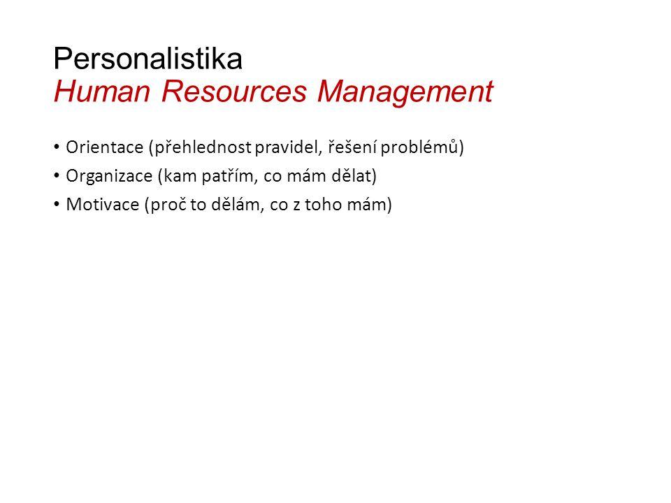 Personalistika Human Resources Management Orientace (přehlednost pravidel, řešení problémů) Organizace (kam patřím, co mám dělat) Motivace (proč to dělám, co z toho mám)