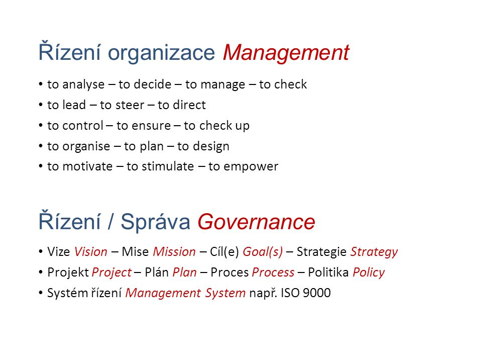 Řízení organizace Management to analyse – to decide – to manage – to check to lead – to steer – to direct to control – to ensure – to check up to organise – to plan – to design to motivate – to stimulate – to empower Vize Vision – Mise Mission – Cíl(e) Goal(s) – Strategie Strategy Projekt Project – Plán Plan – Proces Process – Politika Policy Systém řízení Management System např.