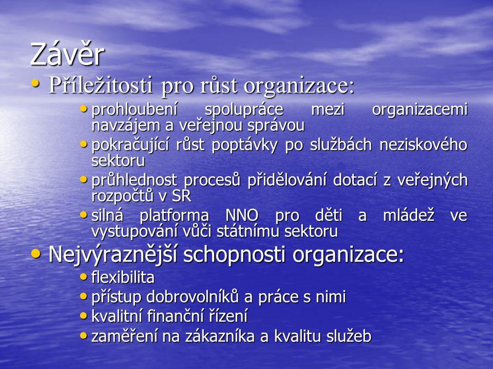 Závěr Příležitosti pro růst organizace: Příležitosti pro růst organizace: prohloubení spolupráce mezi organizacemi navzájem a veřejnou správou prohlou