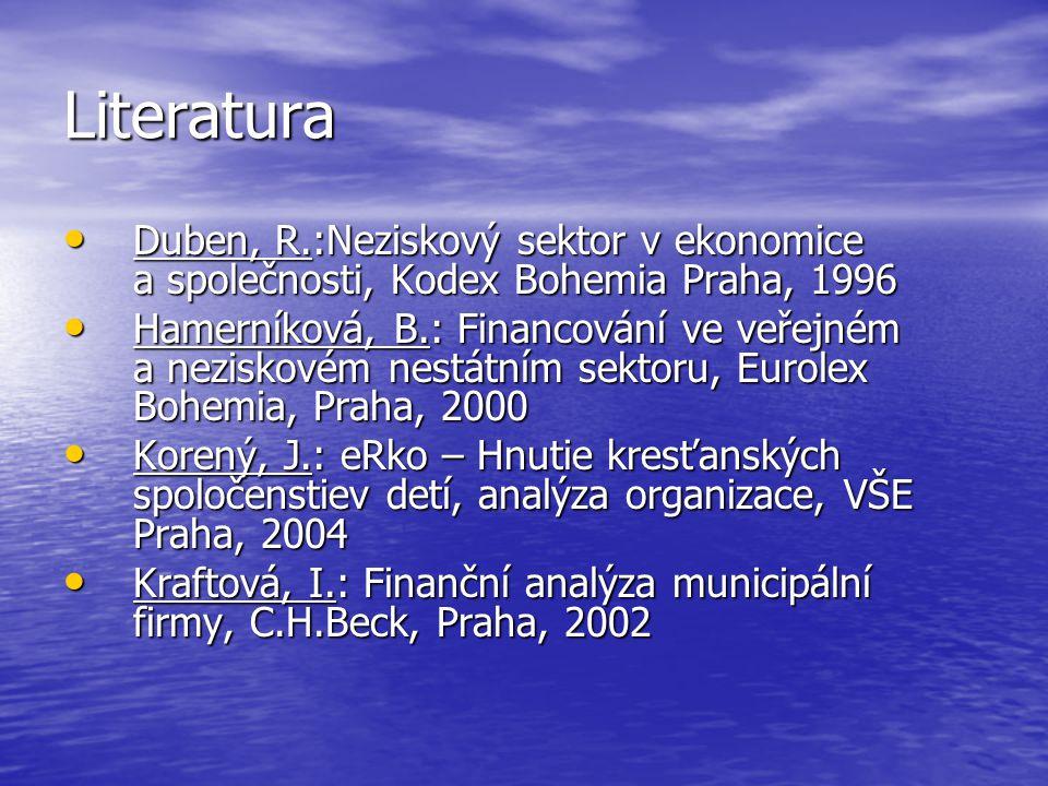 Literatura Duben, R.:Neziskový sektor v ekonomice a společnosti, Kodex Bohemia Praha, 1996 Duben, R.:Neziskový sektor v ekonomice a společnosti, Kodex