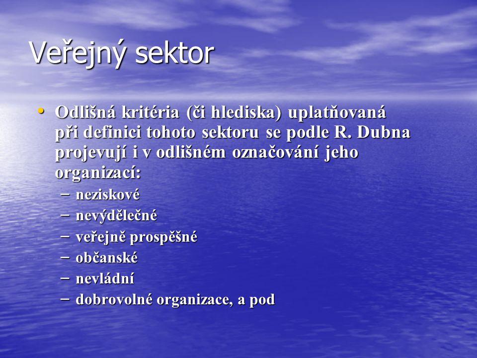 Veřejný sektor Odlišná kritéria (či hlediska) uplatňovaná při definici tohoto sektoru se podle R. Dubna projevují i v odlišném označování jeho organiz